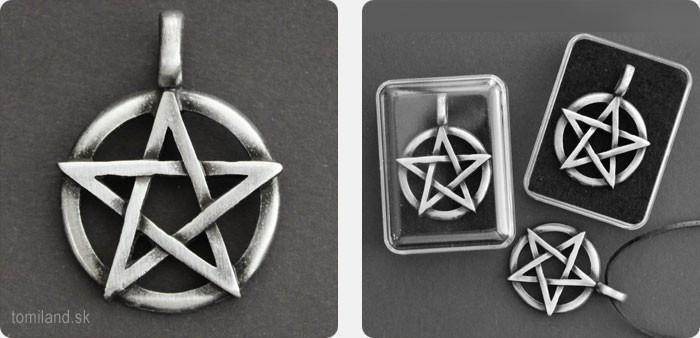 Masívny 3D pentagram na krk - kartáčovaný hliník.