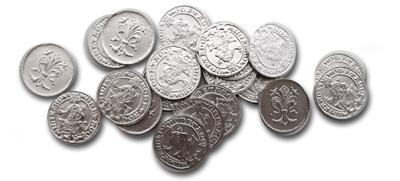 Stredoveké mince pre šťastie.